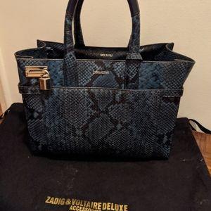 ZADIG & VOLTAIRE BLUE SNAKE PRINT BAG